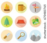 set of round adventure... | Shutterstock .eps vector #670483765