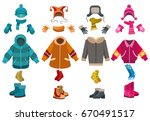 winter clothes and cold weather ... | Shutterstock .eps vector #670491517
