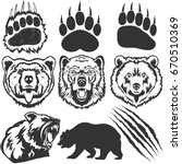 bear  grizzly footprint  paw... | Shutterstock .eps vector #670510369