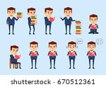 set of funny businessman posing ... | Shutterstock .eps vector #670512361