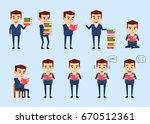 set of funny businessman posing ... | Shutterstock .eps vector #670512361