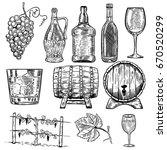 wine. set of wine bottles ... | Shutterstock .eps vector #670520299