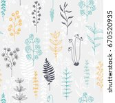 seamless floral pattern  doodle ... | Shutterstock . vector #670520935
