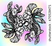 beautiful hand drawn oriental... | Shutterstock .eps vector #670528471