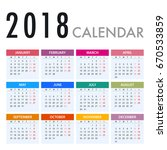 calendar for 2018 on white... | Shutterstock .eps vector #670533859