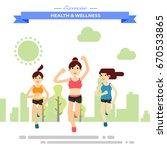 group of girl firends running... | Shutterstock .eps vector #670533865