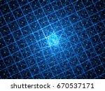 blue glowing quantum computer... | Shutterstock . vector #670537171