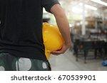 safety helmet on architect ... | Shutterstock . vector #670539901