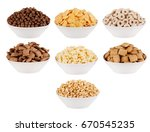 various corn flakes in white...   Shutterstock . vector #670545235