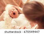 Cute Yawning Infant Baby On...