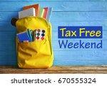backpack with school supplies...   Shutterstock . vector #670555324