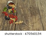 black  red and white currant... | Shutterstock . vector #670560154
