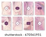 a set of delicate pink... | Shutterstock .eps vector #670561951