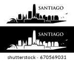 santiago skyline   chile  ... | Shutterstock .eps vector #670569031