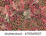 red leopard pattern. grunge... | Shutterstock .eps vector #670569037
