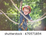 boy having fun at adventure... | Shutterstock . vector #670571854
