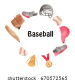 watercolor baseball wreath ... | Shutterstock . vector #670572565