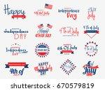 Ha4th Of July Independence Day Lettering Design set.