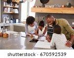 parents helping children with...   Shutterstock . vector #670592539