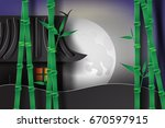 bamboo garden at night with... | Shutterstock .eps vector #670597915