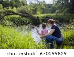 small toddler girl and and... | Shutterstock . vector #670599829