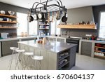 kitchen area of modern home... | Shutterstock . vector #670604137