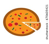 pizza icon flat color | Shutterstock .eps vector #670605421