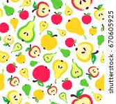 apple pear background. fruit... | Shutterstock .eps vector #670605925