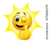 winking smiley showing thumb up.... | Shutterstock .eps vector #670606195