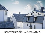 white wooden houses in old town ... | Shutterstock . vector #670606825