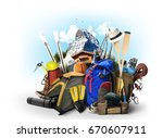 travel backpacks with climbing... | Shutterstock . vector #670607911