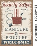 beauty salon vintage colored... | Shutterstock .eps vector #670609495