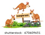 three kangaroos at the zoo sign ... | Shutterstock .eps vector #670609651