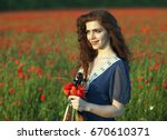 beautiful romantic girl with... | Shutterstock . vector #670610371