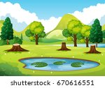 forest scene with little pond... | Shutterstock .eps vector #670616551