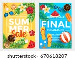 summer sale flyer template for... | Shutterstock .eps vector #670618207