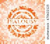 jealousy orange mosaic emblem | Shutterstock .eps vector #670622125
