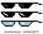 set glasses pixel in art style. ... | Shutterstock .eps vector #670622875