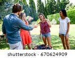 group of happy and cheerful... | Shutterstock . vector #670624909