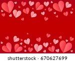 pink folded paper hearts frame... | Shutterstock . vector #670627699