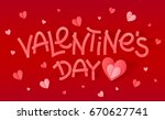 pink valentines day sign with... | Shutterstock . vector #670627741