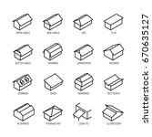 roof types vector icon set in... | Shutterstock .eps vector #670635127
