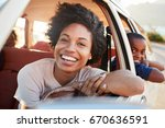 portrait of mother and children ... | Shutterstock . vector #670636591