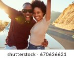 portrait of young couple... | Shutterstock . vector #670636621