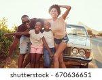 portrait of family standing... | Shutterstock . vector #670636651