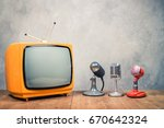 retro old orange tv receiver...   Shutterstock . vector #670642324