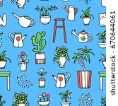 seamless pattern with hand... | Shutterstock .eps vector #670644061