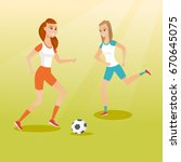 two young sportswomen playing... | Shutterstock .eps vector #670645075