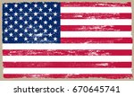 grunge usa  american flag with... | Shutterstock .eps vector #670645741