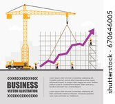 crane and graph building.... | Shutterstock .eps vector #670646005